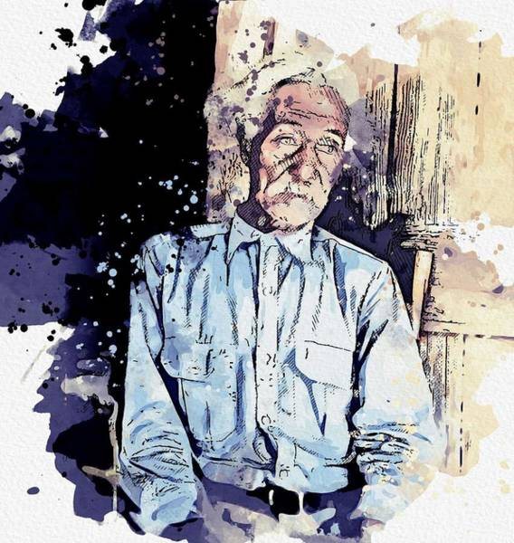 Painting - Bob Lemmons Carrizo Springs, Texas Born A Slave About 1850 Original By Dorothea Lange Watercolor By  by Ahmet Asar