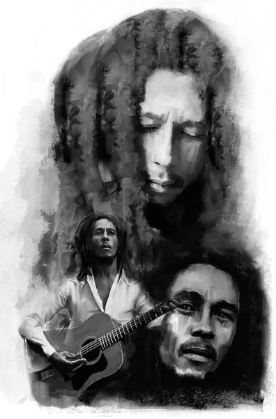 Painting - Bob Marley Inspiriting by Iconic Images Art Gallery David Pucciarelli