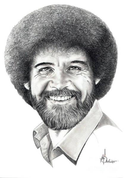 Famous People Drawing - Bob Ross by Murphy Elliott
