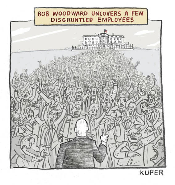 Interview Drawing - Bob Woodward Uncovers A Few Disgruntled Employees by Peter Kuper
