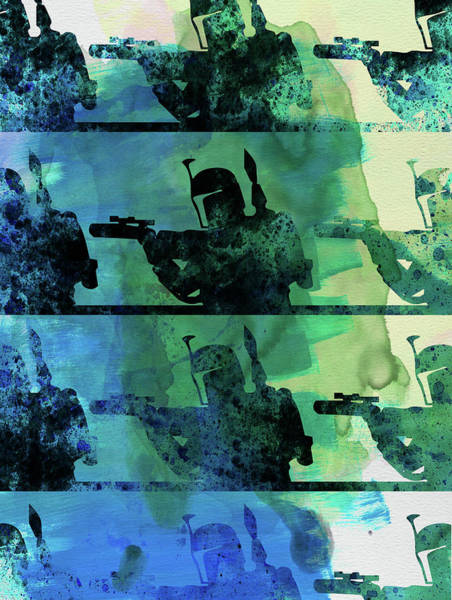 Wall Art - Mixed Media - Boba Fett Collage Watercolor 1 by Naxart Studio