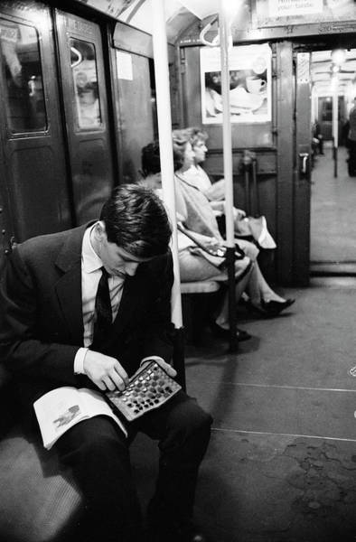 Railroad Car Photograph - Bobby Fischer On The Subway by Carl Mydans