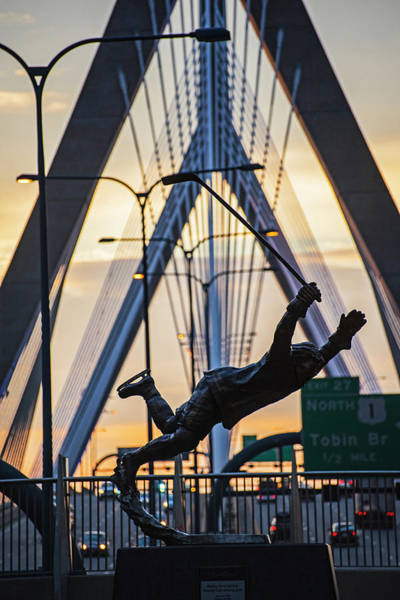 Photograph - Bobby Orr Statue Leaping Through The Zakim Bridge At Sunset Boston Ma by Toby McGuire