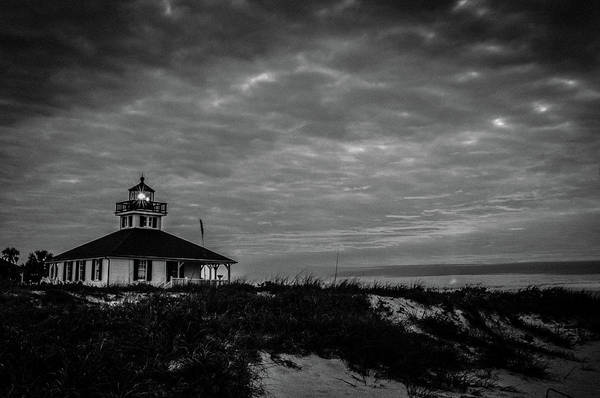 Photograph - Boca Grande Lighthouse Black And White by Joe Leone