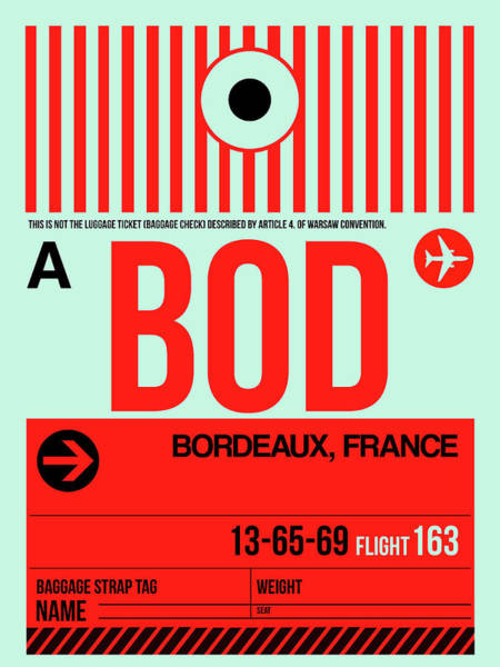 Wall Art - Digital Art - Bod Bordeaux Luggage Tag I by Naxart Studio