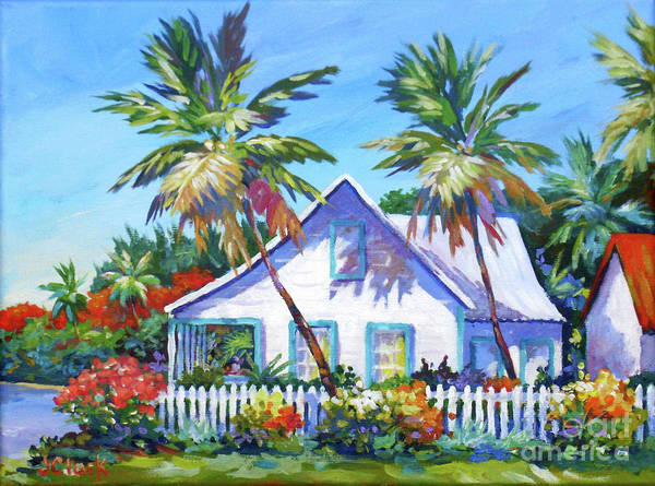 White Picket Fence Painting - Bodden Town Cottage And Picket Fence by John Clark