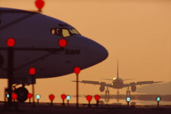 Lax Photograph - Boeing 727 Nose In Silhouette At by Nick Gunderson