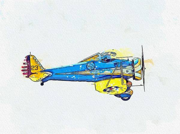 Painting - Boeing P-26a Peashooter Watercolor By Ahmet Asar by Ahmet Asar