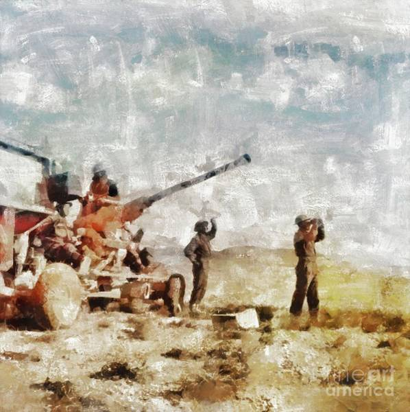 Wall Art - Painting - Bofors, Desert War, Wwii by Mary Bassett