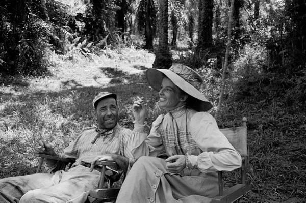 Photograph - Bogart & Hepburn During African Queen by Eliot Elisofon
