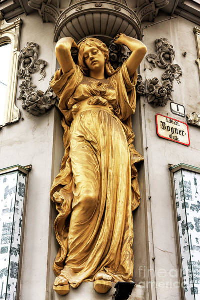 Photograph - Bognergasse Girl Sculpture In Vienna by John Rizzuto