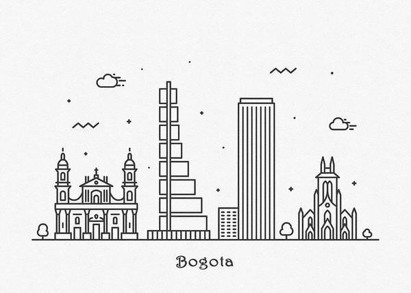 Landmark Center Drawing - Bogota Cityscape Travel Poster by Inspirowl Design