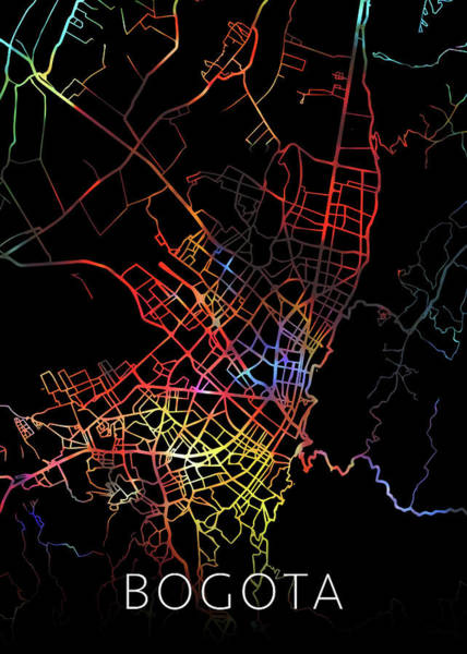 South America Mixed Media - Bogota Colombia City Street Map Watercolor Dark Mode by Design Turnpike