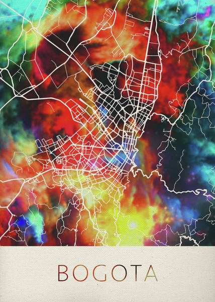 South America Mixed Media - Bogota Colombia Watercolor City Street Map by Design Turnpike