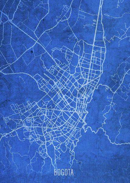 Wall Art - Mixed Media - Bogota Columbia City Street Map Blueprints by Design Turnpike