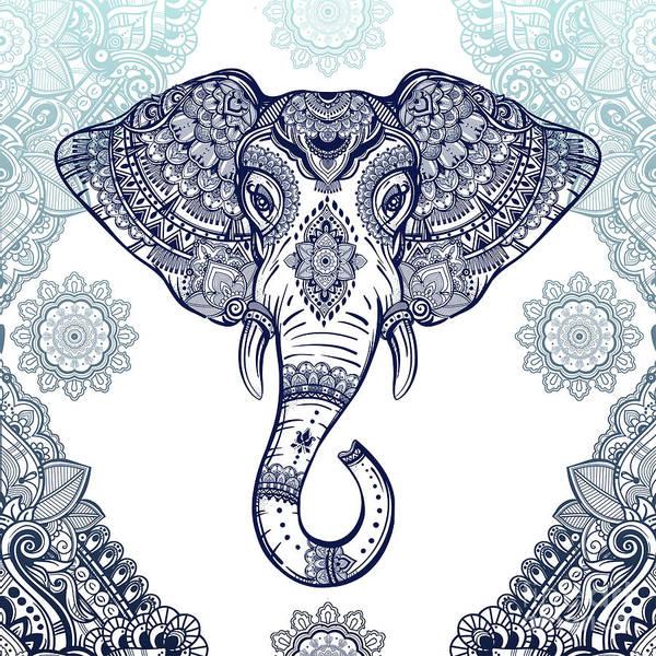 Wall Art - Digital Art - Bohemian Elephant Tribal Boho Lace by Sharon Mau