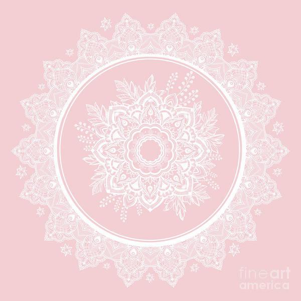 Wall Art - Photograph - Bohemian Lace Paisley Mandala White On Pink by Sharon Mau