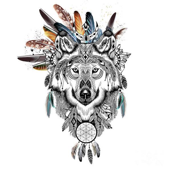 Shaman Digital Art - Bohemian Wolf With Feather Headdress by Sharon Mau