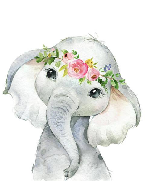 Wall Art - Digital Art - Boho Elephant by Pink Forest Cafe