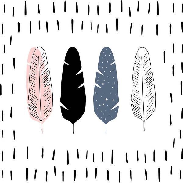 Drawing - Boho Feathers - Boho Chic Ethnic Nursery Art Poster Print by Dadada Shop