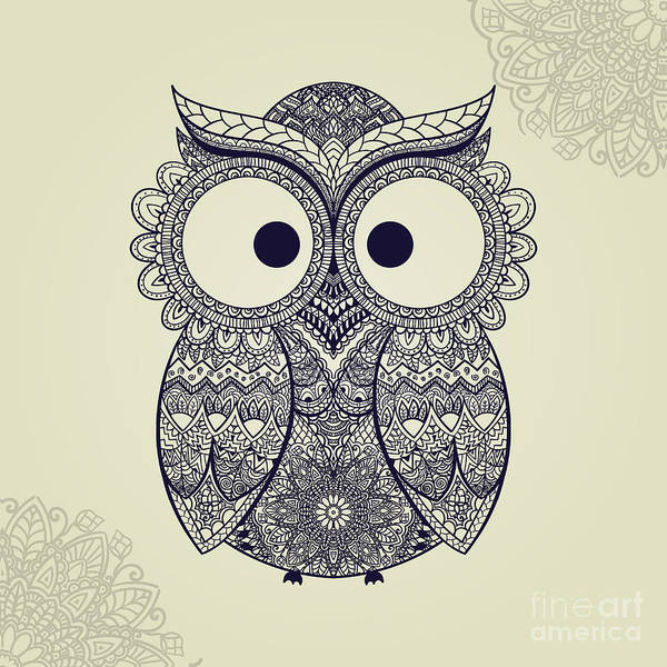 Wall Art - Digital Art - Boho Ornamental Owl Illustration by Anutaberg