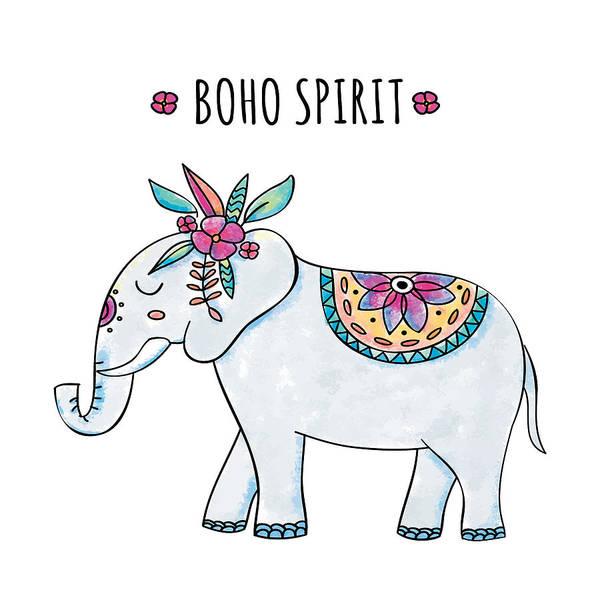 Digital Art - Boho Spirit Elephant - Boho Chic Ethnic Nursery Art Poster Print by Dadada Shop
