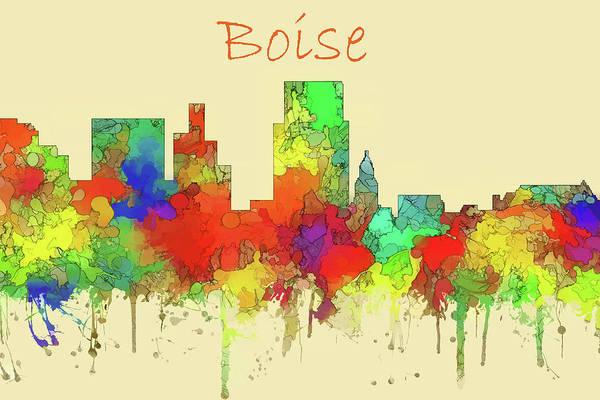 Wall Art - Digital Art - Boise City Skyline Watercolor  by Watson Mckeating