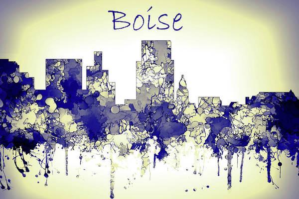 Wall Art - Digital Art - Boise Skyline Blue Yellow by Watson Mckeating