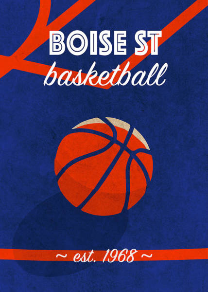 St Mixed Media - Boise St University Retro College Basketball Team Poster by Design Turnpike