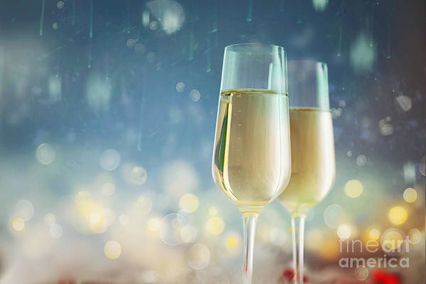 Gold Dust Photograph - Bokeh Shiny Abstract Background  Champagne. New Year Background by Mythja Photography