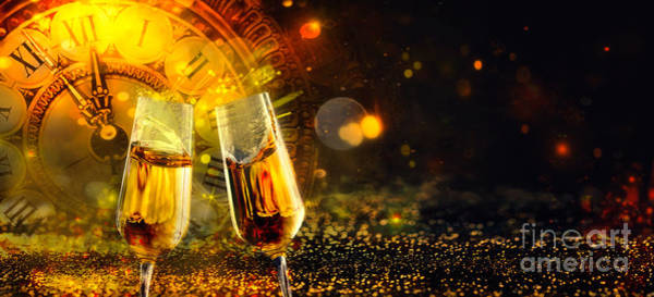 Gold Dust Photograph - Bokeh Shiny Abstract Background  With Clock And Champagne by Mythja Photography