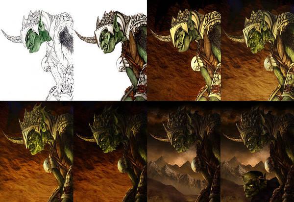 Troll Mixed Media - Bolg The Goblin King Progression by Curtiss Shaffer