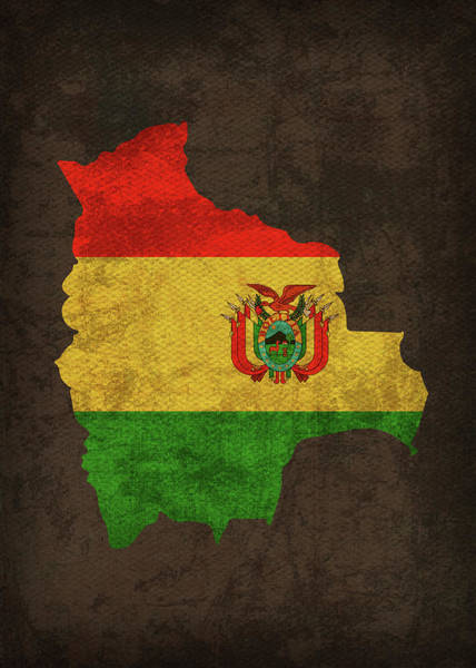 Bolivia Mixed Media - Bolivia Country Flag Map by Design Turnpike