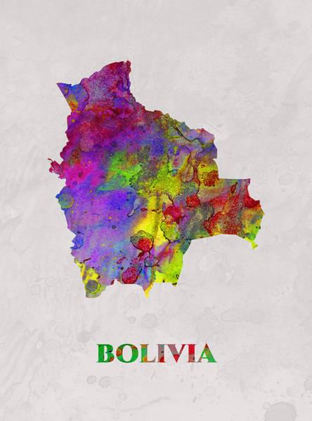 Bolivia Mixed Media - Bolivia, Map, Artist Singh by Artist Singh MAPS
