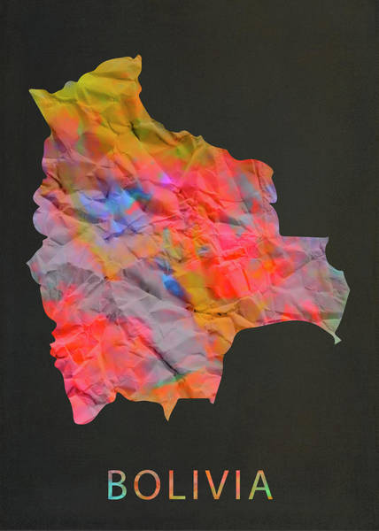 Bolivia Mixed Media - Bolivia Tie Dye Colorful Country Map by Design Turnpike