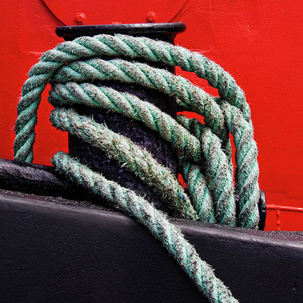 Wall Art - Photograph - Bollard On A Bright Red Boat by Carol Leigh