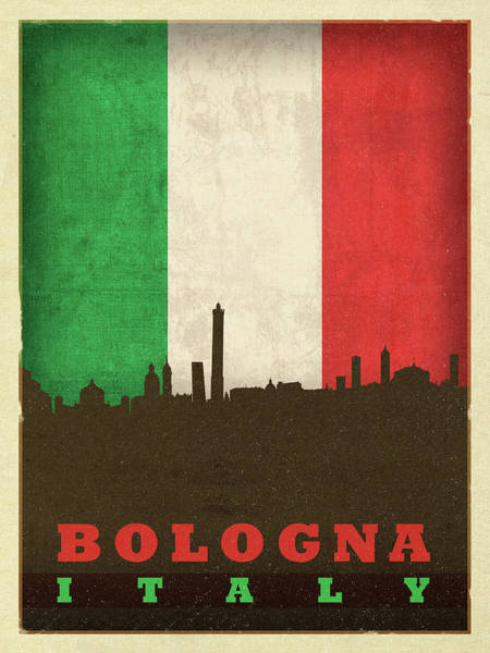 Wall Art - Mixed Media - Bologna Italy World City Flag Skyline by Design Turnpike