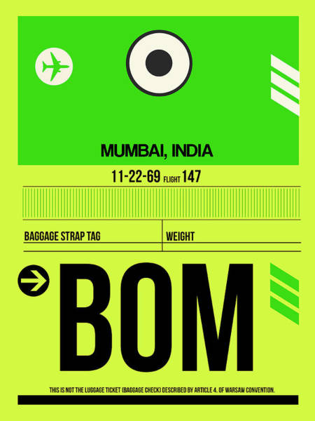 Wall Art - Digital Art - Bom Mumbai Luggage Tag I by Naxart Studio