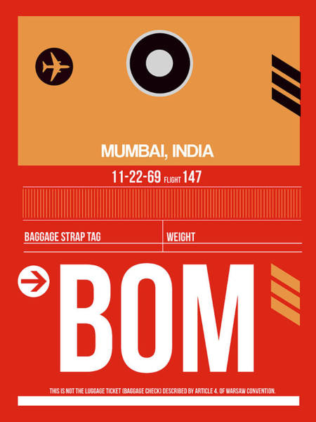 Wall Art - Digital Art - Bom Mumbai Luggage Tag II by Naxart Studio
