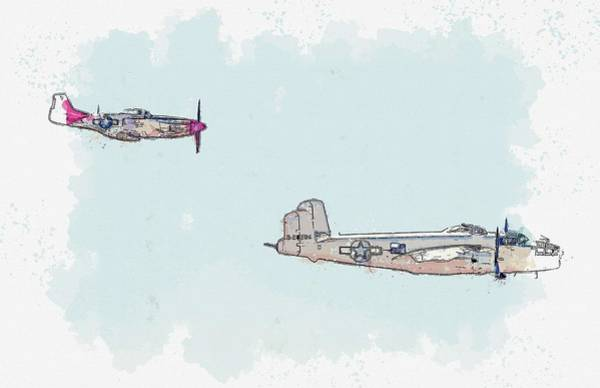 Painting - Bomber And Fighter Profiles Watercolor By Ahmet Asar by Ahmet Asar