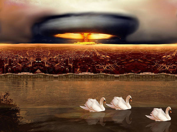 Digital Art - Bombs And Swans by Robert G Kernodle
