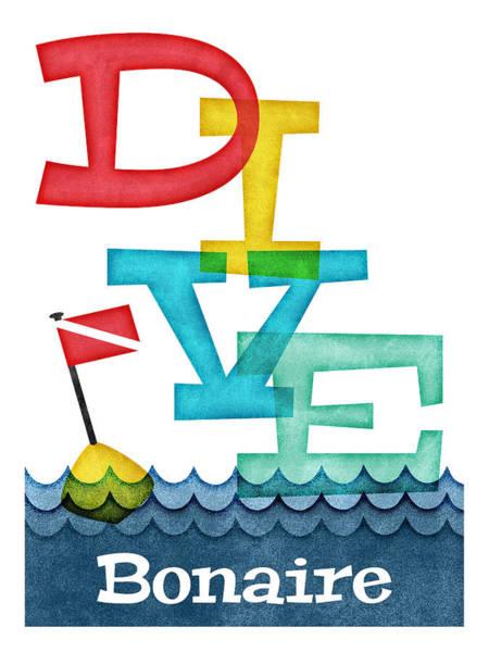 Scuba Digital Art - Bonaire Dive - Colorful Scuba by Flo Karp