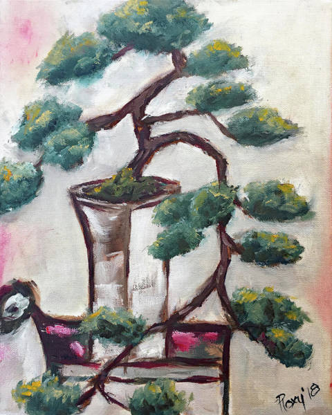 Tree Painting - Bonsai In A White Vase by Roxy Rich
