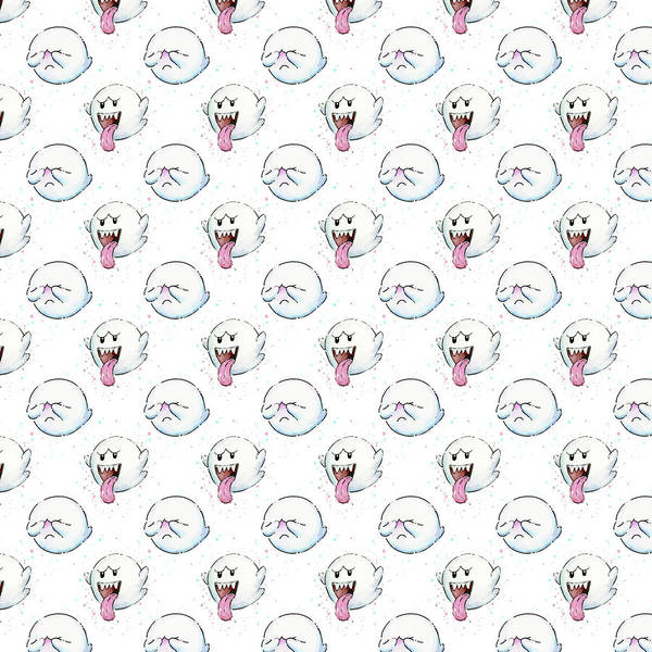 Wall Art - Painting - Boo Ghost Pattern by Olga Shvartsur