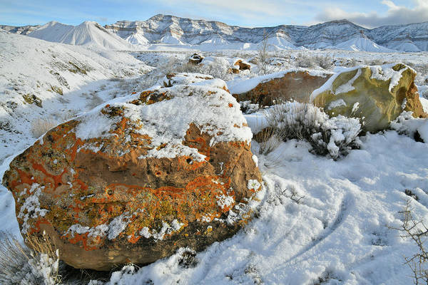 Photograph - Book Cliffs Boulders And Fresh Snow by Ray Mathis