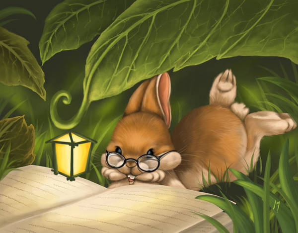 Rabbit Painting - Book Lover by Veronica Minozzi