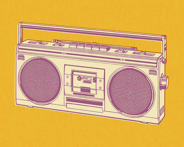 Handle Digital Art - Boombox On Yellow Background by Csa Images