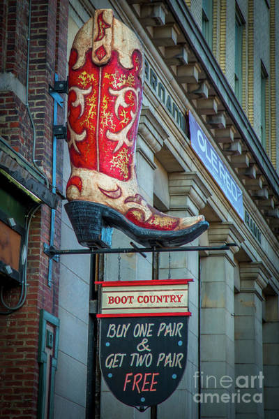 Wall Art - Photograph - Boot Country Broadway Signage Nashville Tennessee Art by Reid Callaway