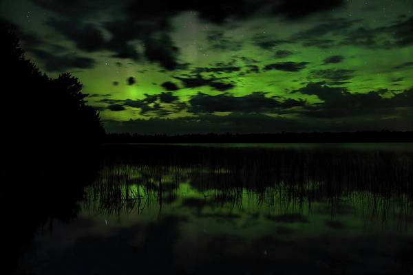 Photograph - Boot Lake Green And Purple Northern Lights  by Dale Kauzlaric