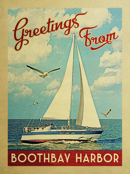 Seagull Digital Art - Boothbay Harbor Sailboat Vintage Travel by Flo Karp